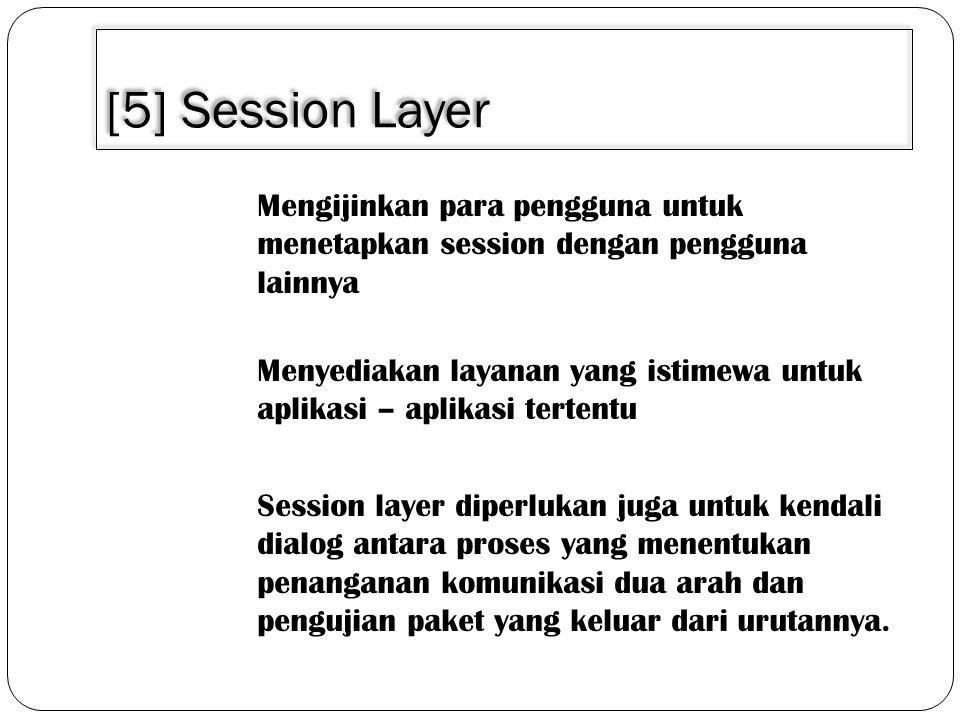 3/30/2011 [5] Session Layer. Mengijinkan para pengguna untuk menetapkan session dengan pengguna lainnya.
